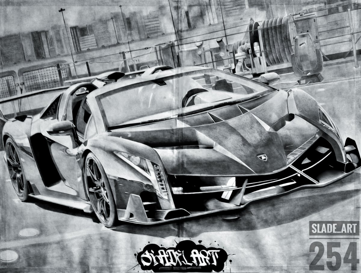 Lamborghini Veneno Supercar Art (Edited)