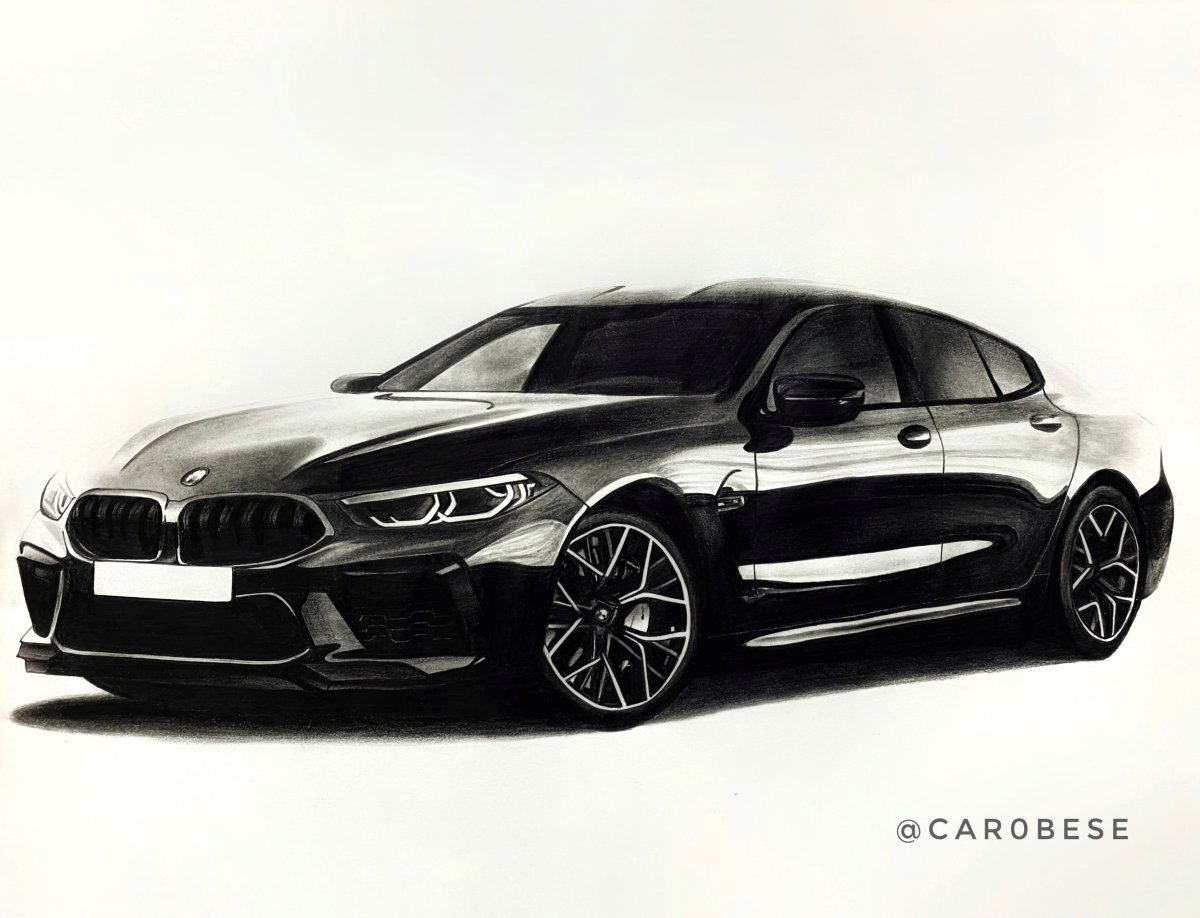 BMW M8 Gran Coupé Pencil Drawing