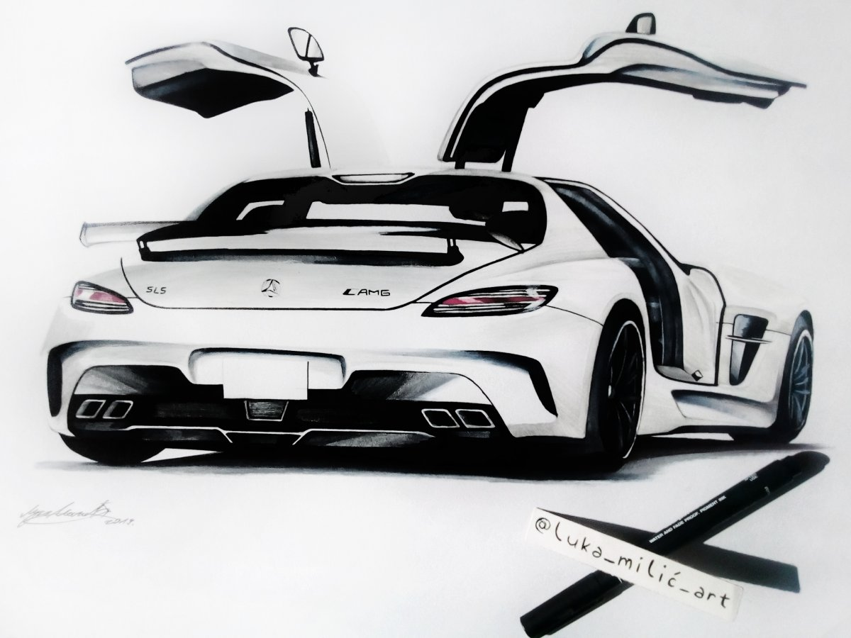 White Mercedes-Benz SLS AMG