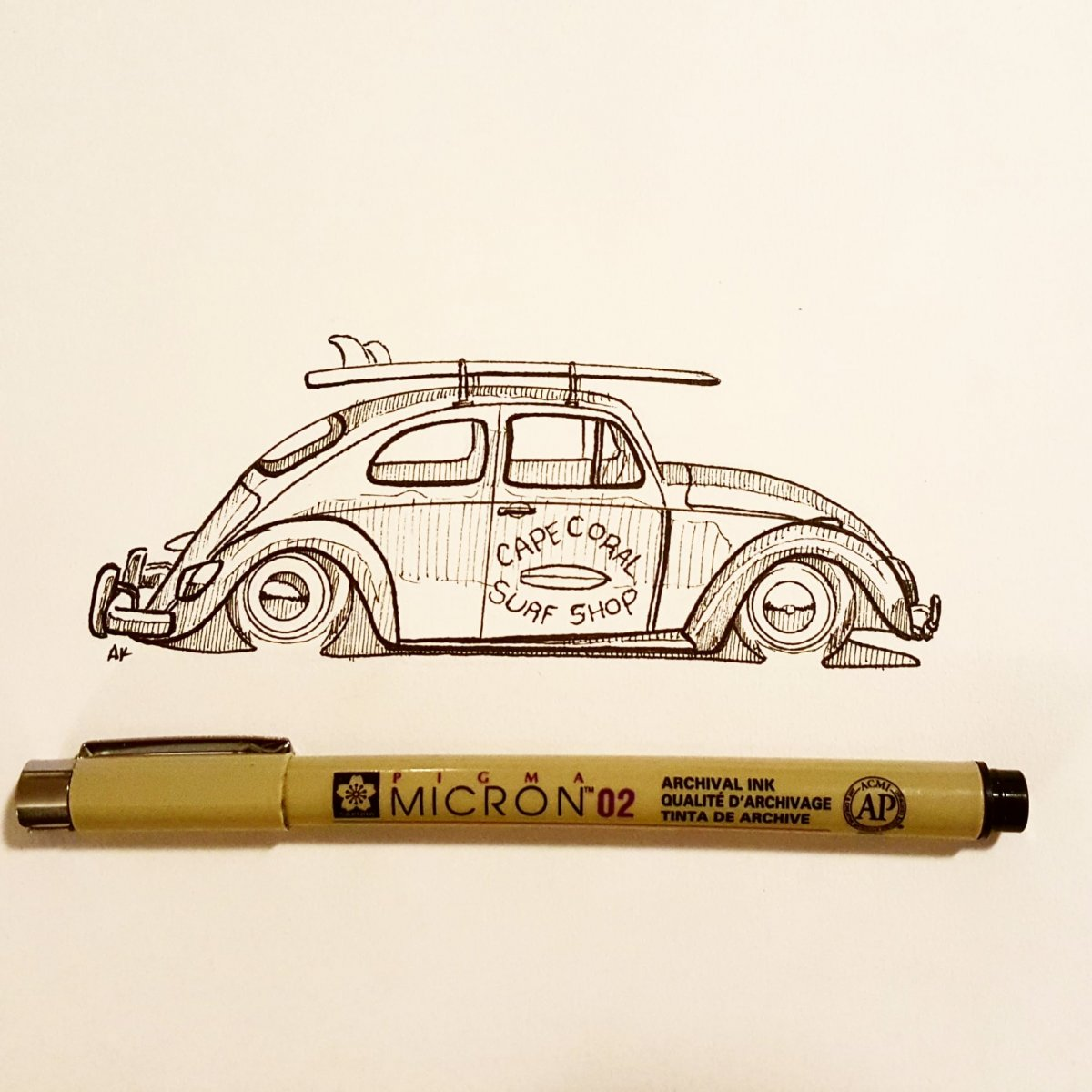 VW Beetle Surf Sketch