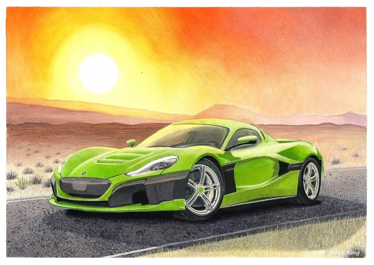 Drawing of Rimac C_Two for Challenge