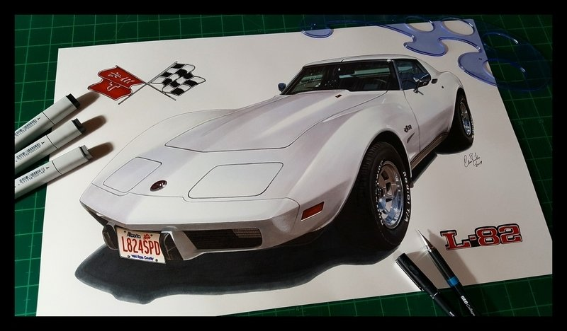 1976 Chevrolet Corvette C3 drawing artwork