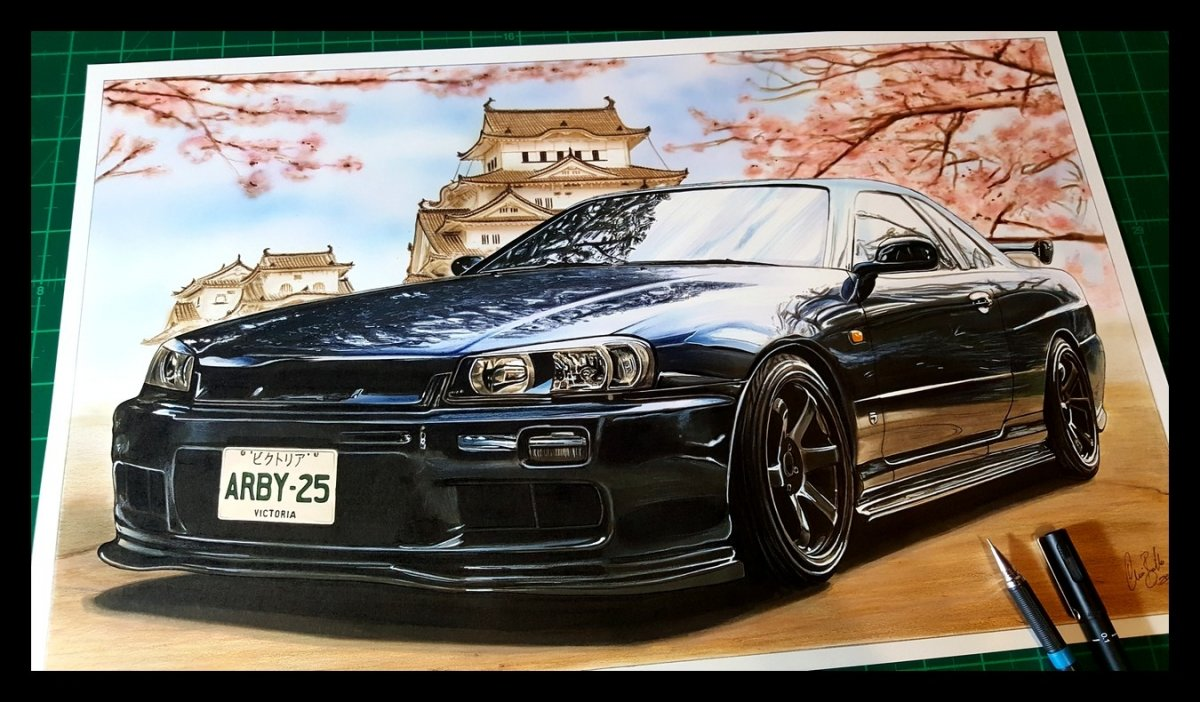 1999 Nissan Skyline R34 25GT drawing artwork