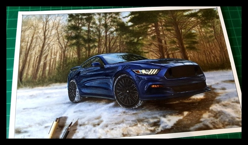 2016 Ford Mustang GT 5.0 drawing artwork
