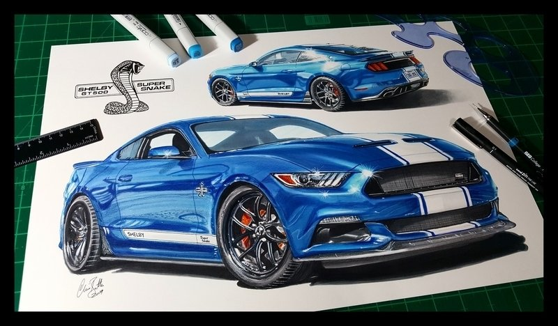 2017 Shelby GT500 Super Snake drawing artwork