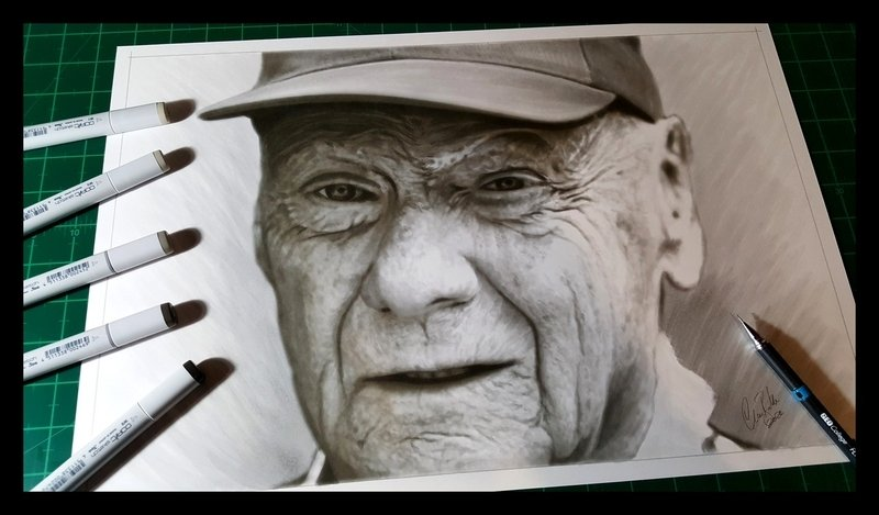 Niki Lauda Portrait drawing artwork