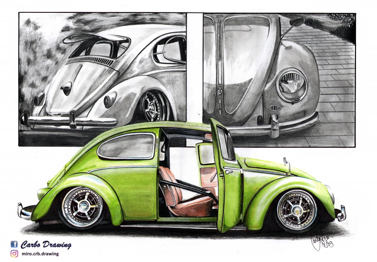 Vw Beetle Carbo Drawing Draw To Drive