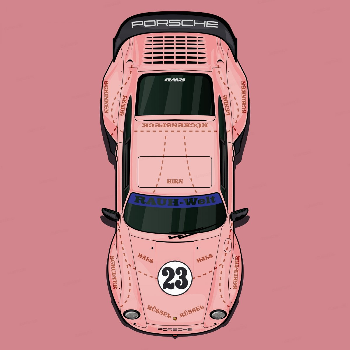 Colorful Porsche 993 Rwb Pink Pig Olgnchs Draw To Drive
